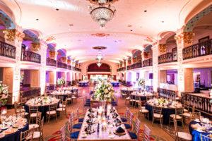 indian fusion wedding Washington DC Mayflower Hotel grand ballroom navy gold white