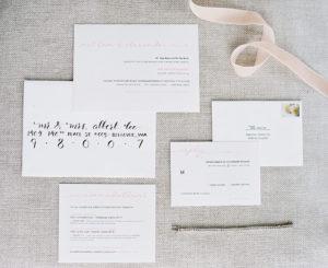 wedding invitations pink simple modern romantic minimalist
