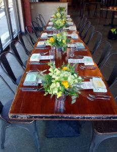 corporate marketing luncheon beer inspired yellow green white wheat flowers