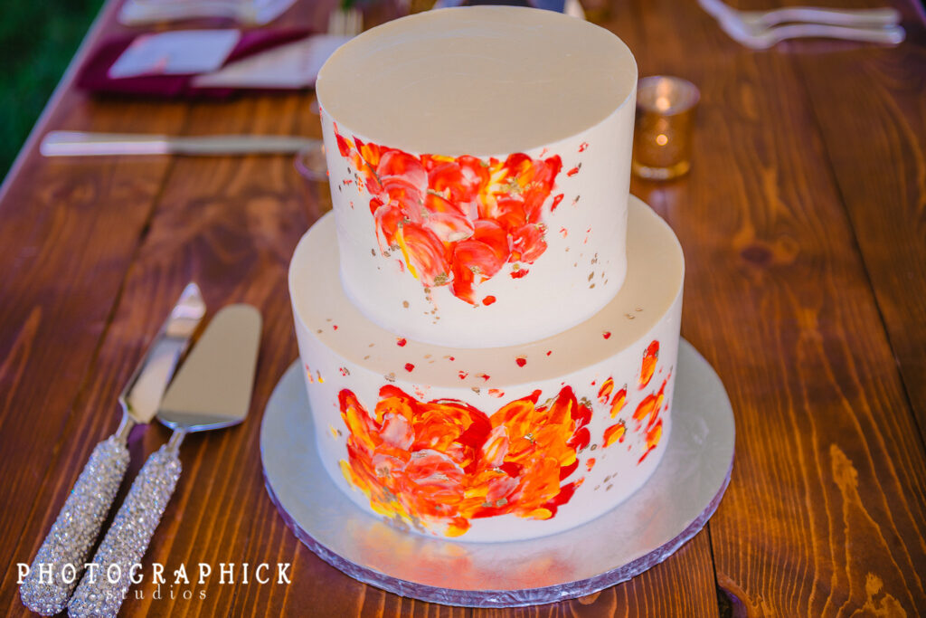 wedding-cake-round-two-tier-red-orange-watercolor-design